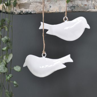 White Glossy Enamelled Metal Bird Christmas Decoration