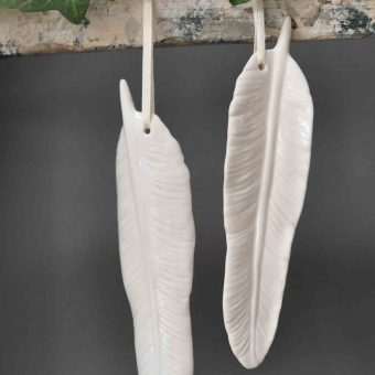 White Ceramic Feather Christmas Decoration
