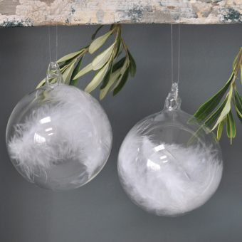 Crystal Clear Glass Bauble With Encapsulated White Feathers