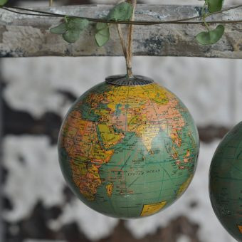 World Globe Bauble With Jute Twine Hanger