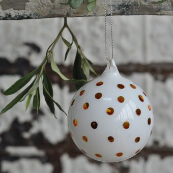 White Glass Hand Blown Bauble With Hand Pained Gold Splashes