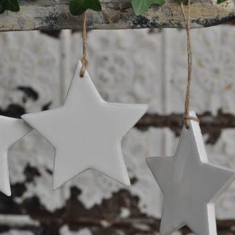 Christmas Star In Glossy White Enamel Finish
