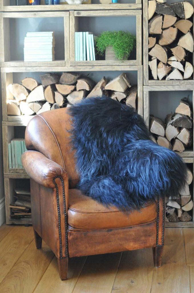 Large Long Black Coat Icelandic Sheepskin Throw Rug Home