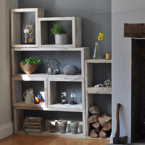 Reclaimed Distressed Wood Box Shelving Unit Home Barn