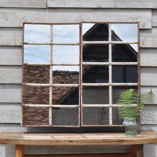 Cast iron industrial warehouse window mirror pair home for Industrial windows for homes