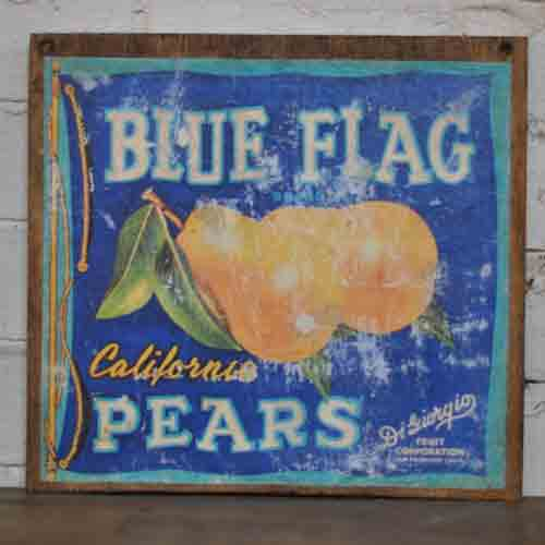 Fruit Crate Signs - Blue Flag Pears