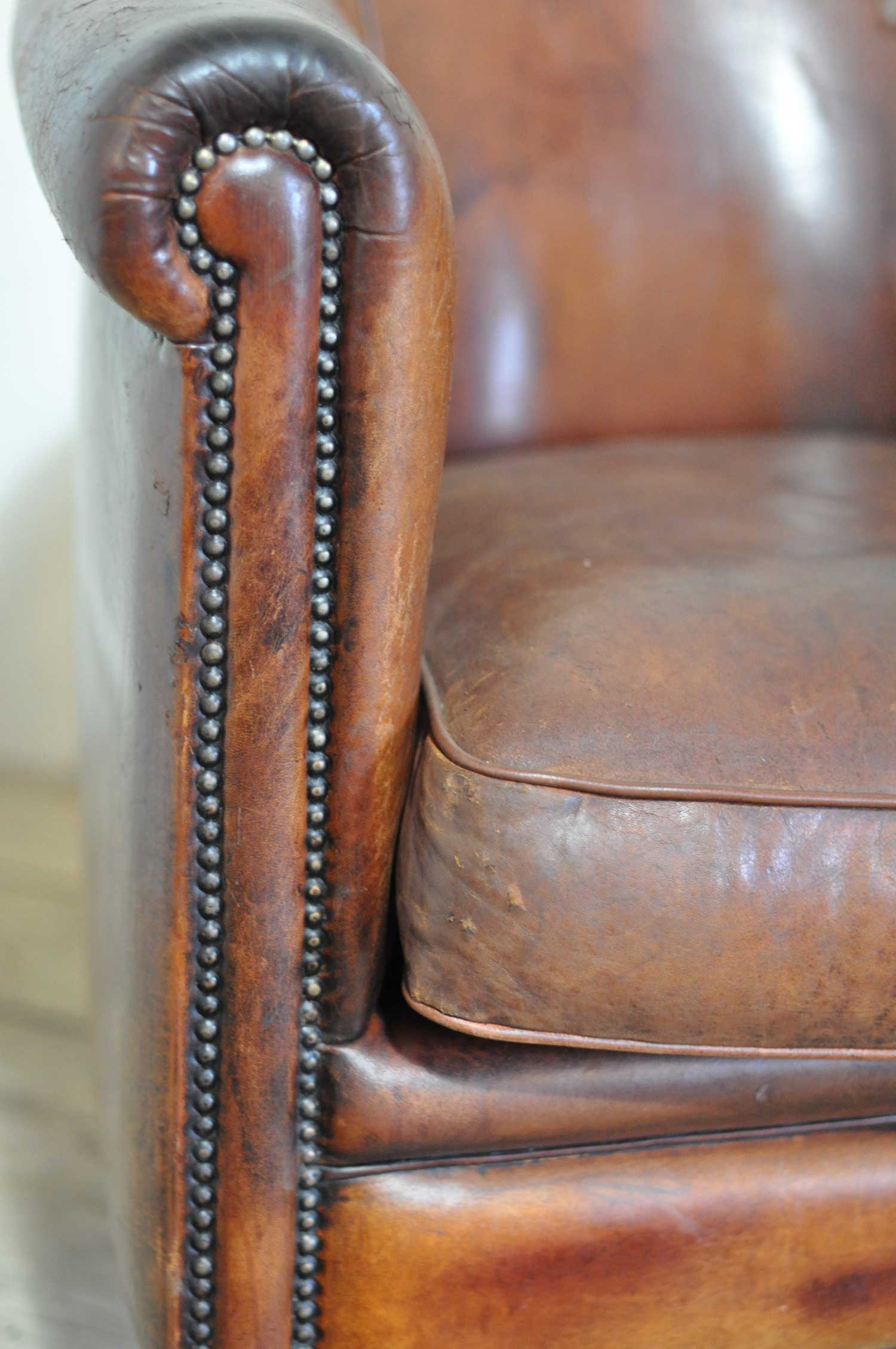 Vintage Worn French Leather Club Chair With Arms Home