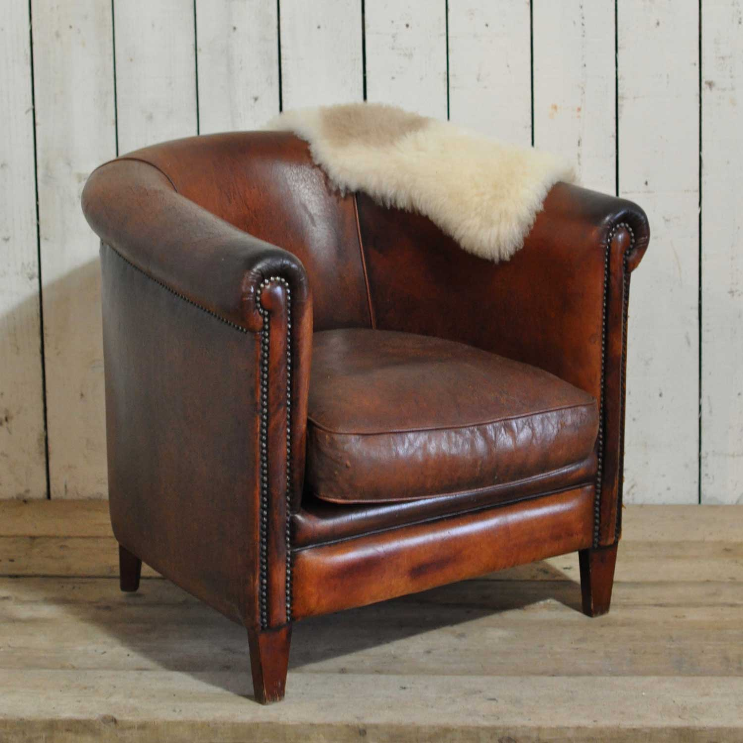 Vintage Worn French Leather Club Chair With Arms - Home ...