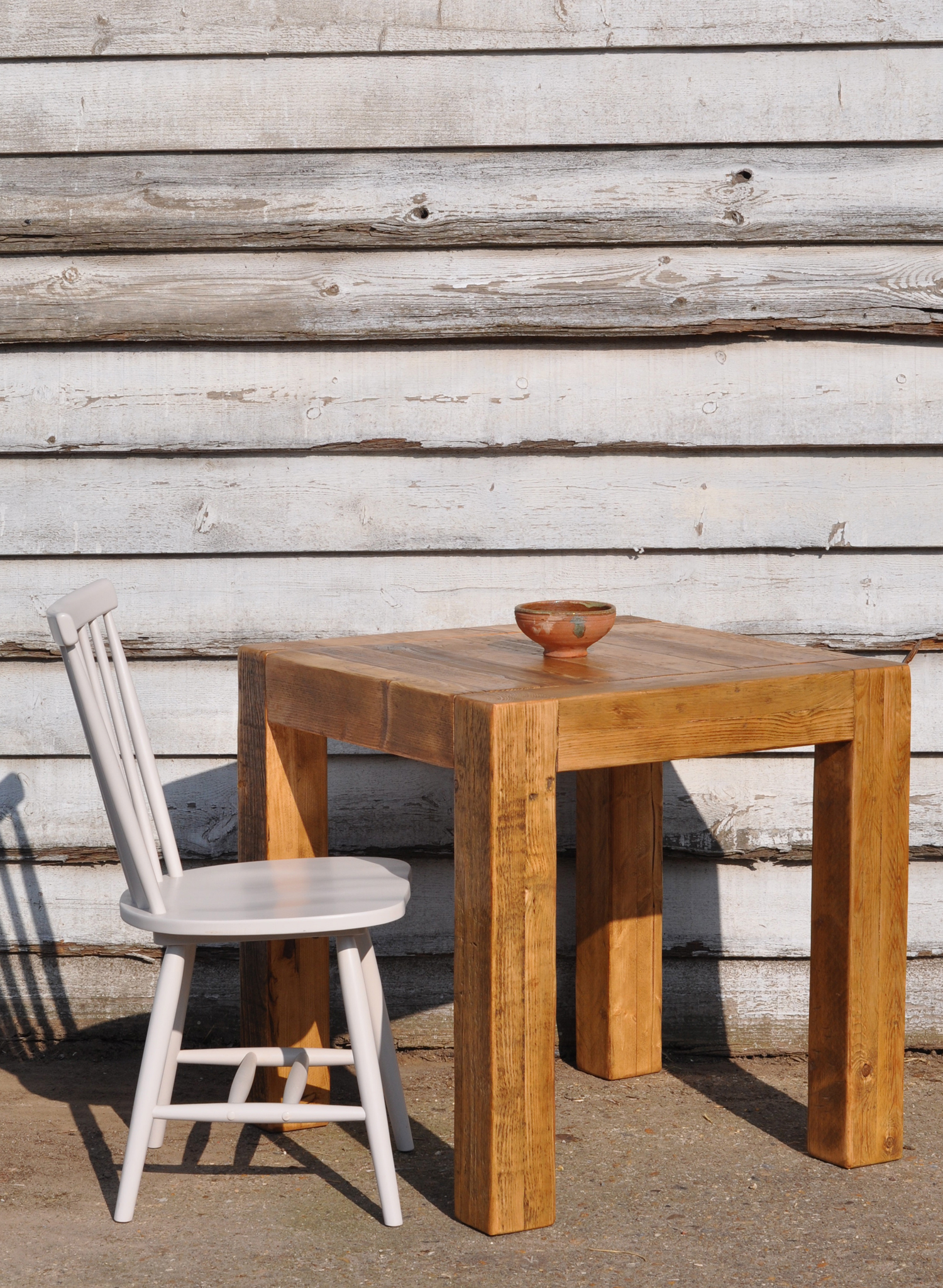 Picture of: Reclaimed Wood Square Cafe Dining Table Home Barn Vintage