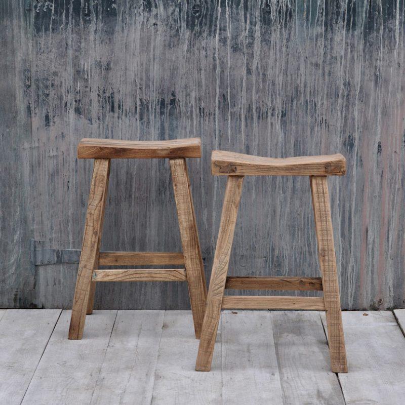 rustic reclaimed wood bar stool