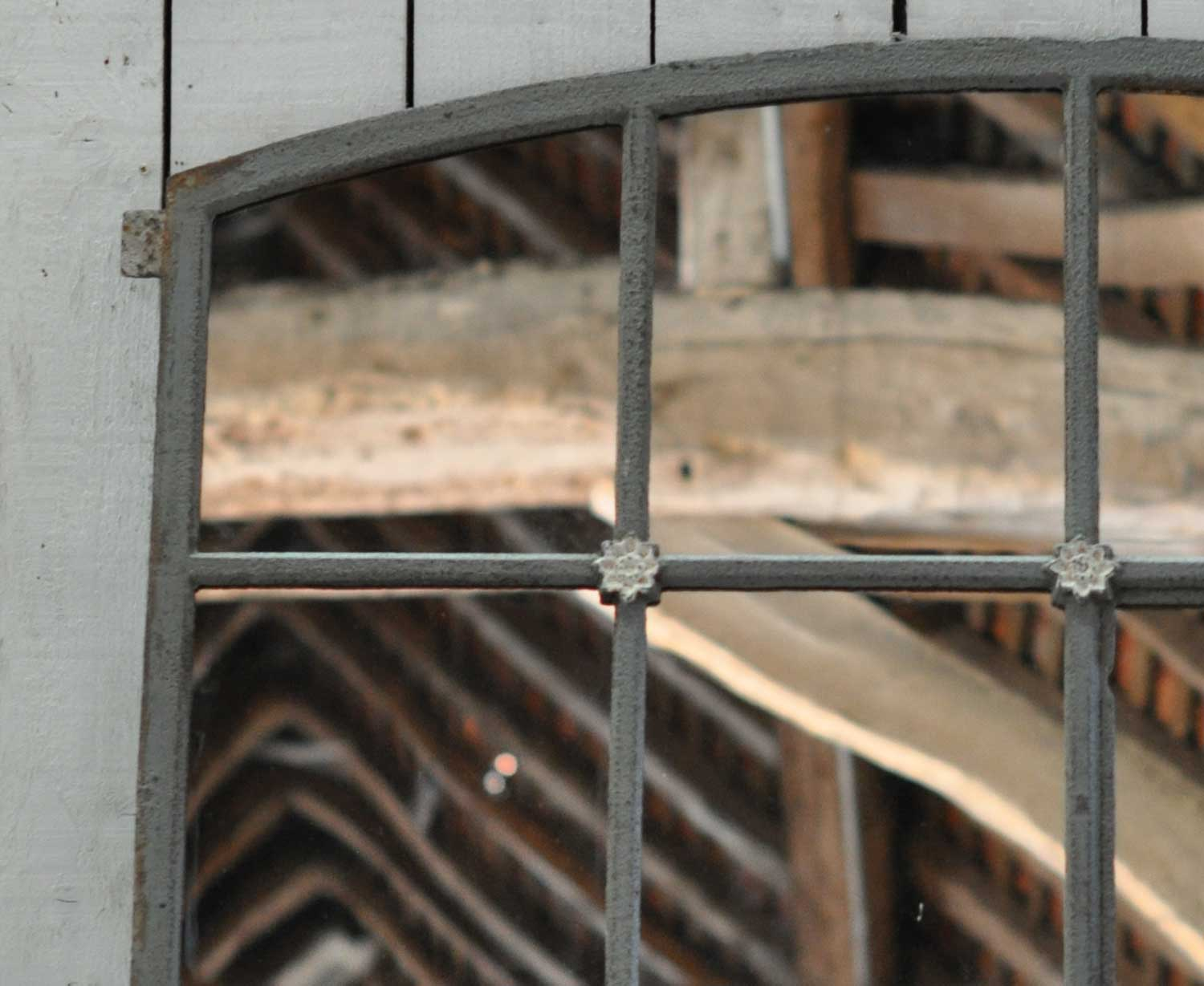 Arched Industrial Cast Iron Warehouse Window Mirror With