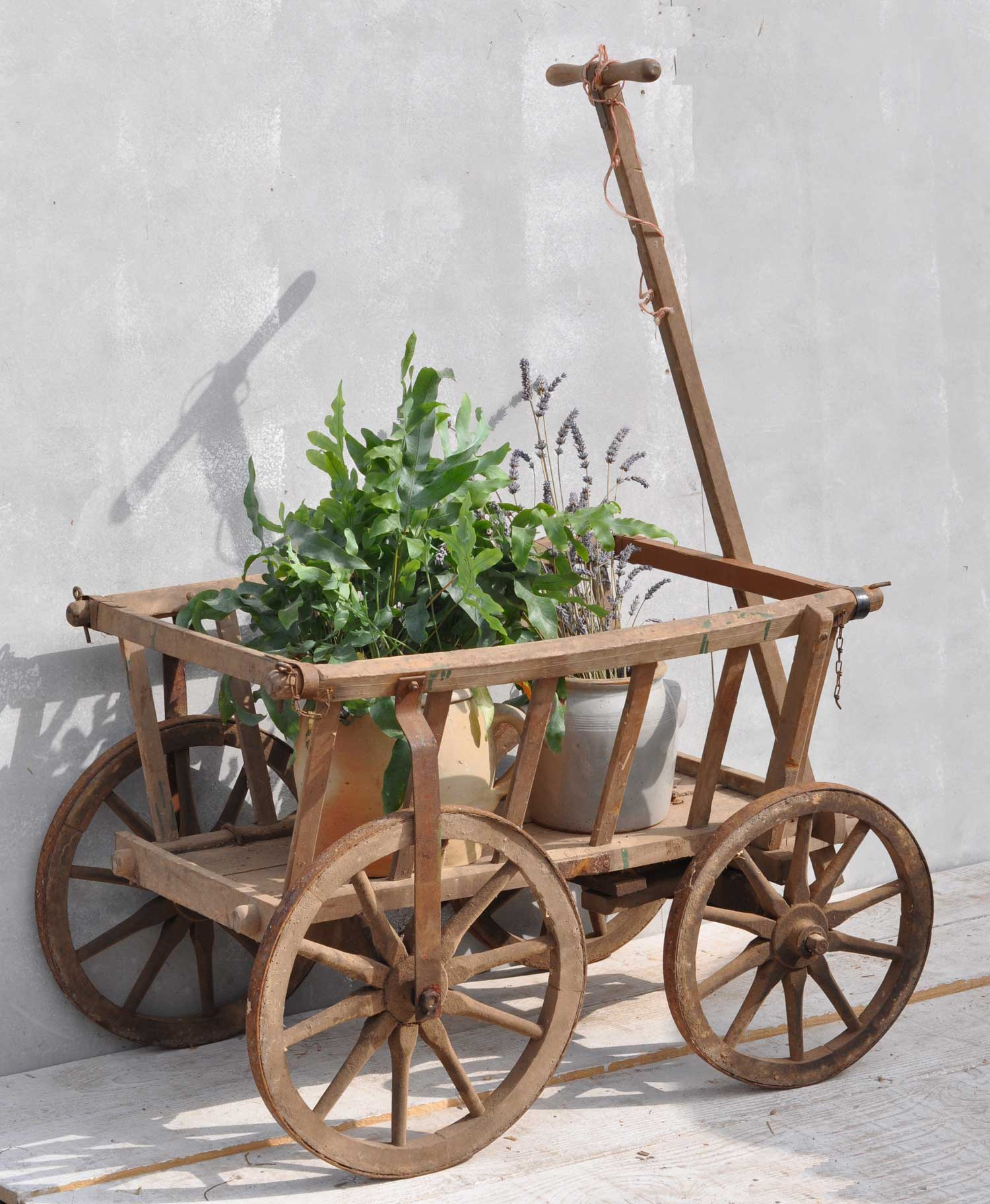 Antique Wooden Dog Cart For Retail Or Garden Display
