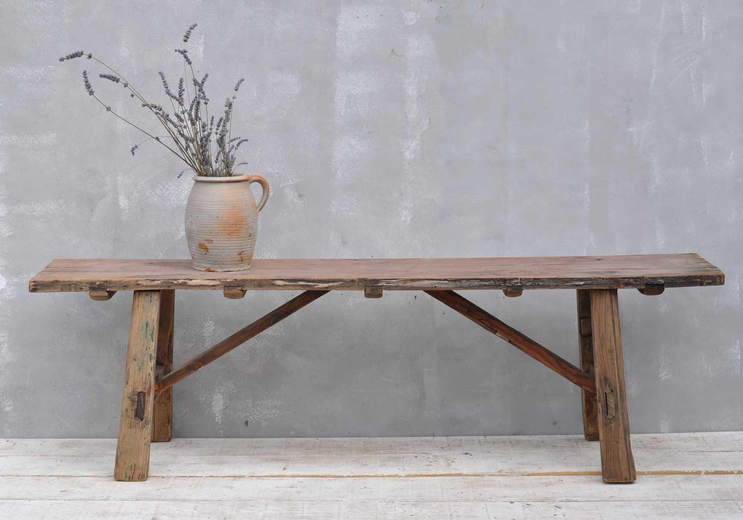 Vintage Low Solid Elm Bench Coffee Table Home Barn Vintage