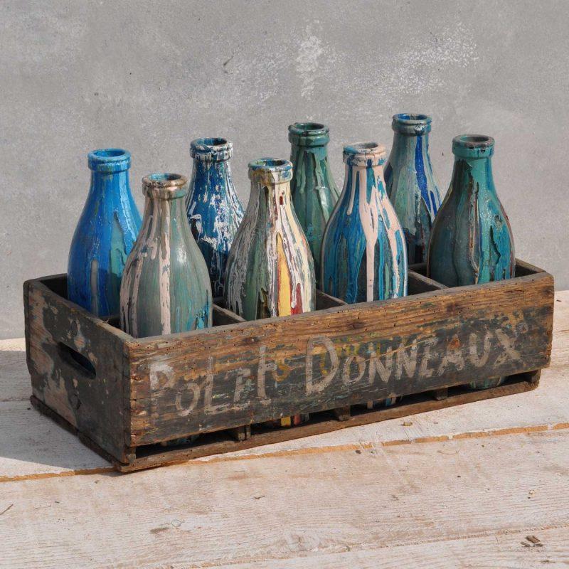 Crate of Screen Printers Art Studio Glass Bottles