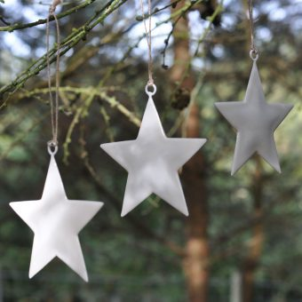 white enamel star Christmas decoration