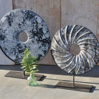 Stone Disc Artwork On Stand With Sandstone And Lichen Patterns