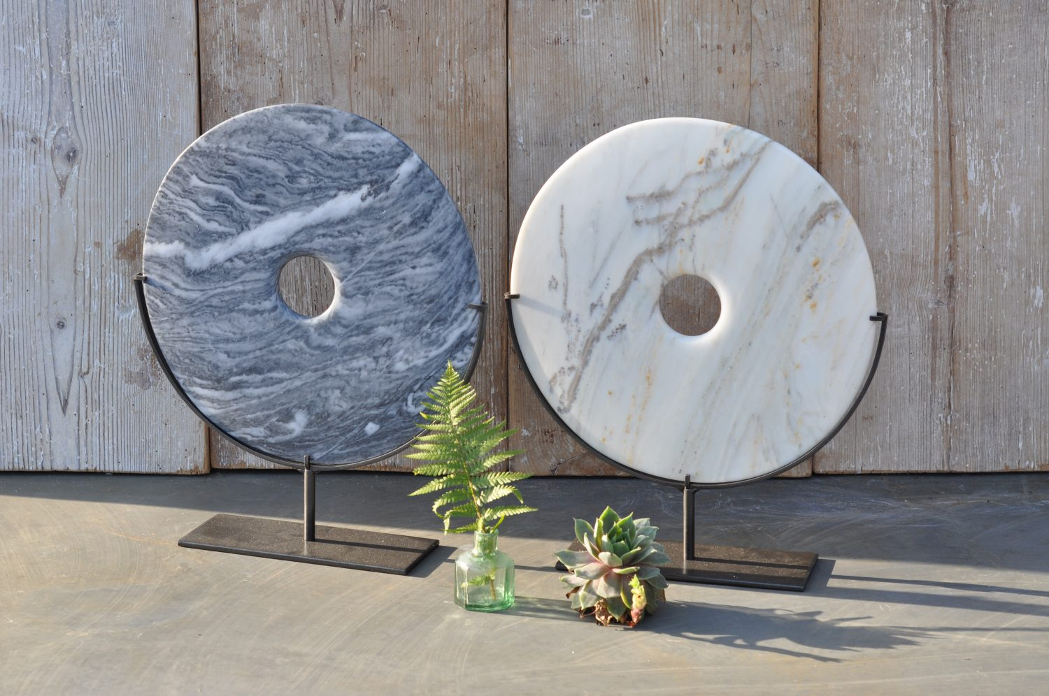 Polished Marble Disc Artwork On Stand In Grey Or White