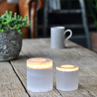 Mineral Crystal Gypsum T-Light Candle Holder