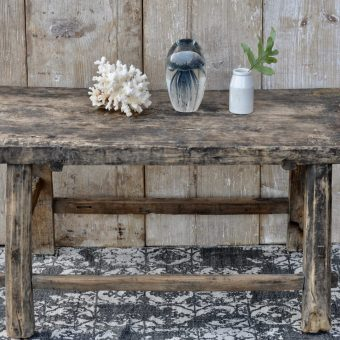 Reclaimed Rustic Solid Elm Trestle Based Coffee Table