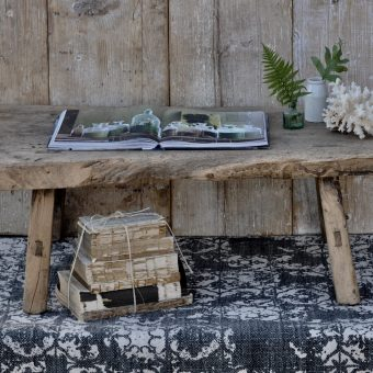 Small Rustic Reclaimed Elm Coffee Table with Live Tree Edge
