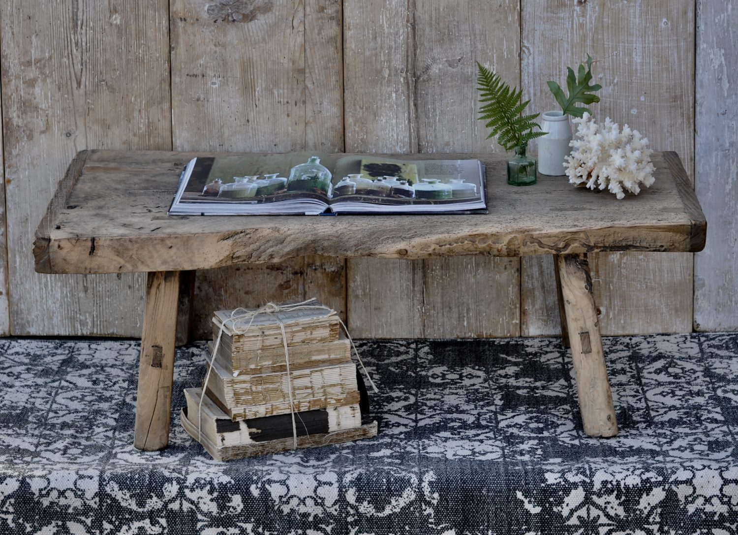 Small Rustic Reclaimed Elm Coffee Table With Live Waney Edge