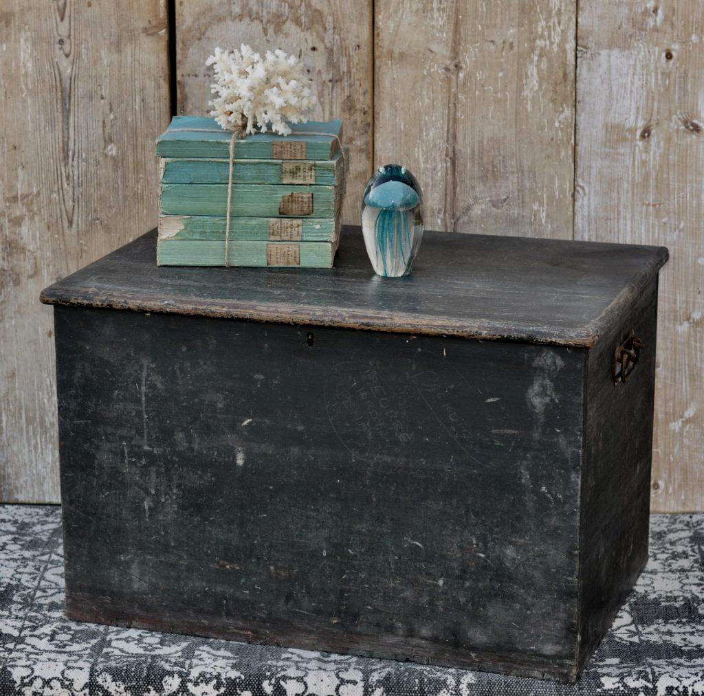 Antique Rustic Original Paint Blanket Box Chest Black Blue