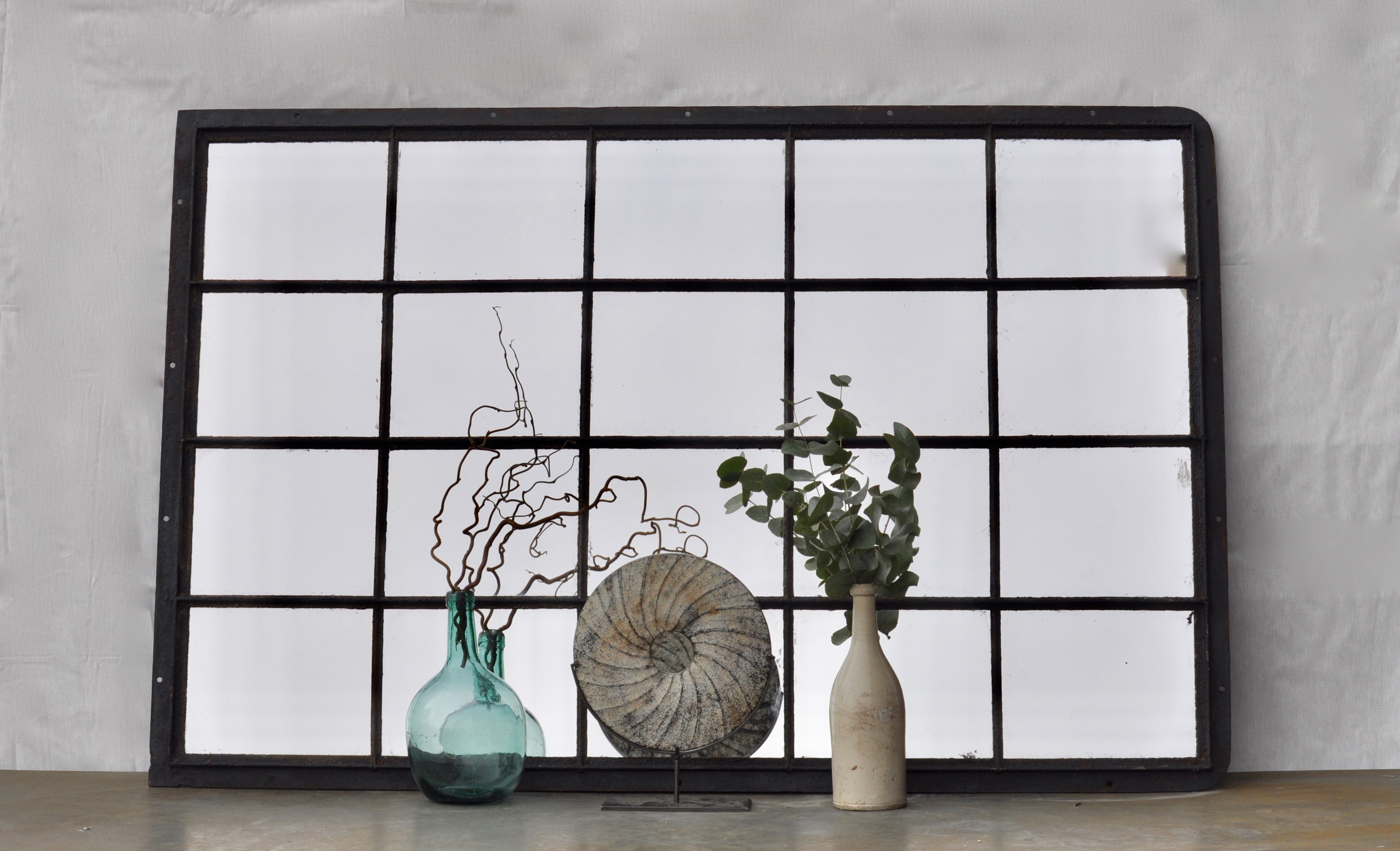 Industrial Vintage Cast Iron Warehouse Window Mirror