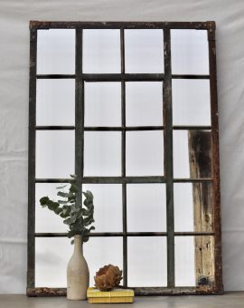 Industrial Vintage Cast Iron Large Warehouse Window Mirror Green