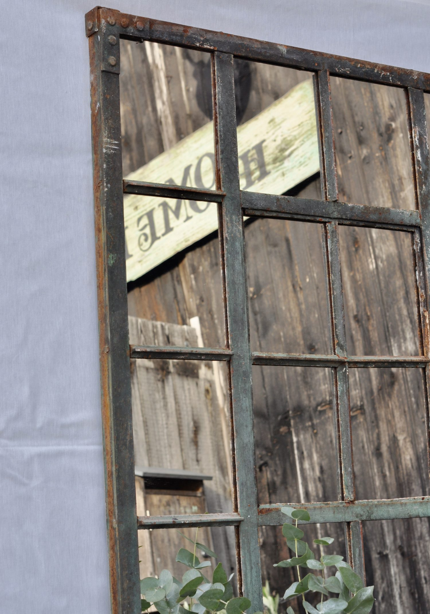 Industrial Vintage Cast Iron Large Warehouse Window Mirror