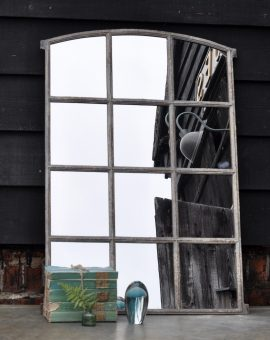 Industrial Vintage Cast Iron Arched Window Mirror Twelve Panes