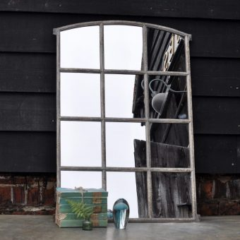 Industrial Vintage Cast Iron Arched Window Mirror Twelve Panes