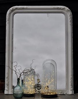 Antique French Ornate Mirror Hand Painted In White