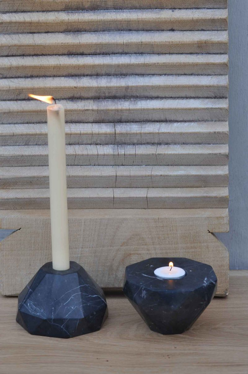 Black Marble Geometric Octagonal Shaped Reversible Candle Holder