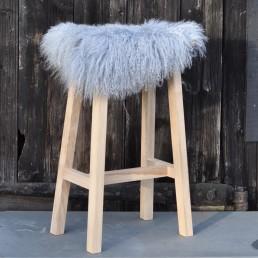 Pale Grey Tibetan Curly Sheepskin Seat Topper