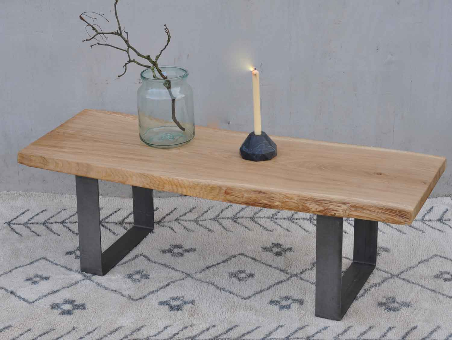 Live Edge Solid Oak Coffee Table With Industrial Steel Legs