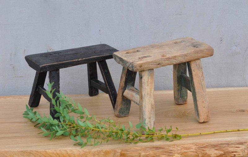 Rustic Antique Miniature Elm Stool Black Natural Wood