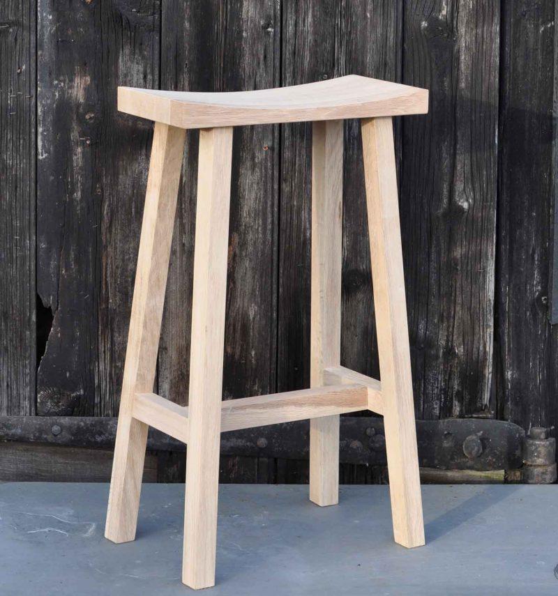 Solid Oak Simple Bar Stool