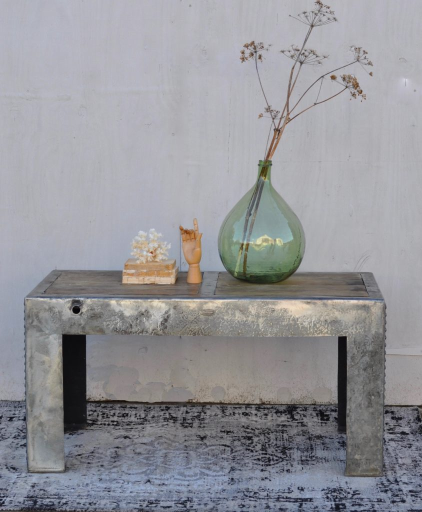Vintage Industrial Steel Tank Coffee Table With Reclaimed Timber Top