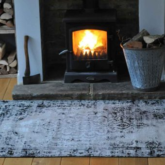 Vintage Style Large Rug Faded Grey Black and Mink Colouring