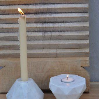 White Marble Geometric Octagonal Shaped Reversible Candle Holder