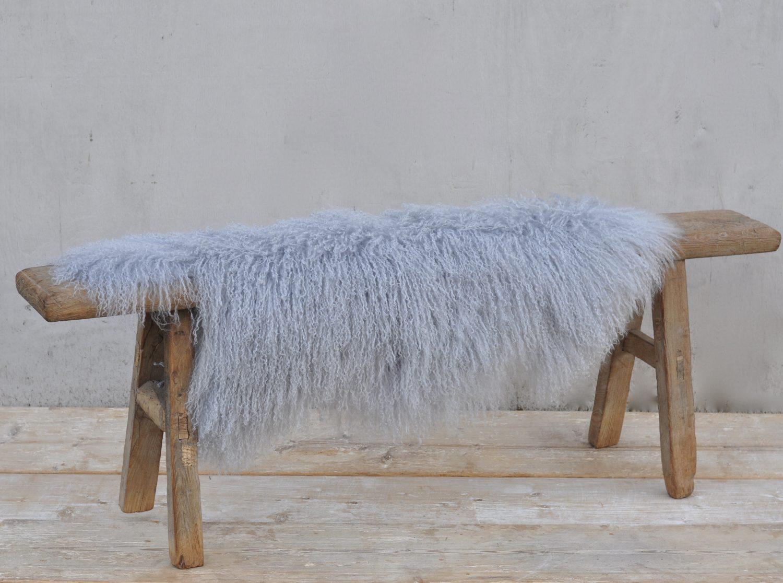 Pale Grey Tibetan Curly Sheepskin Throw Rug Home Barn
