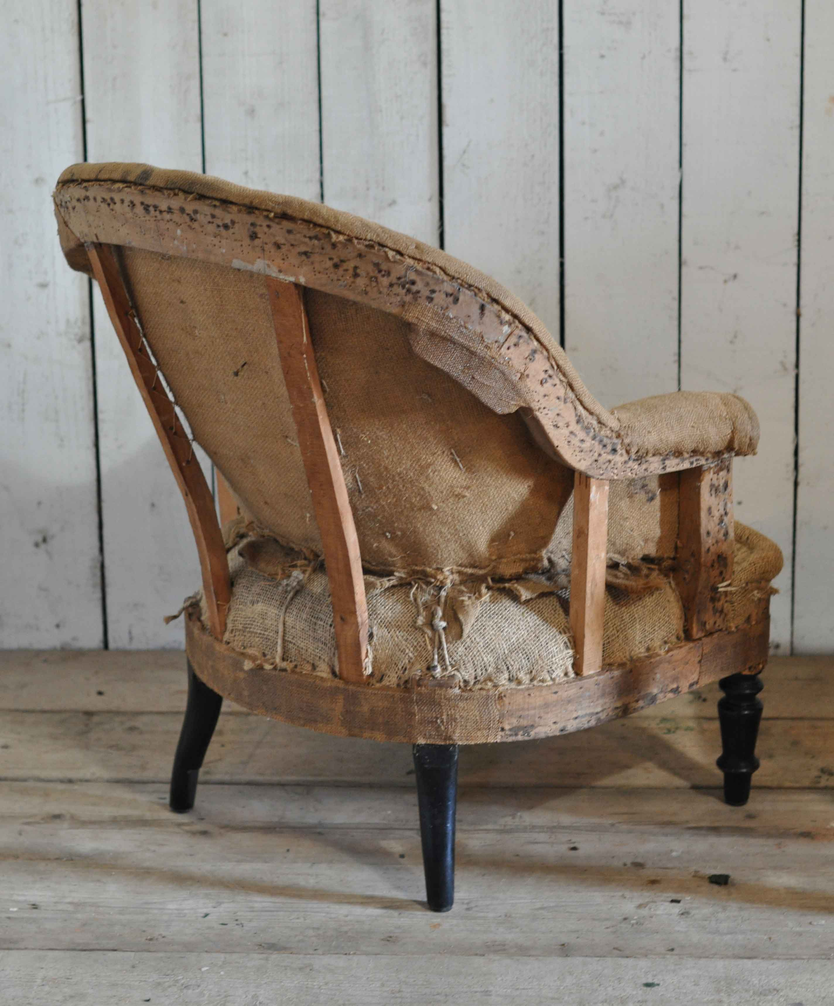 Antique Deconstructed French Fireside Tub Chair Hessian