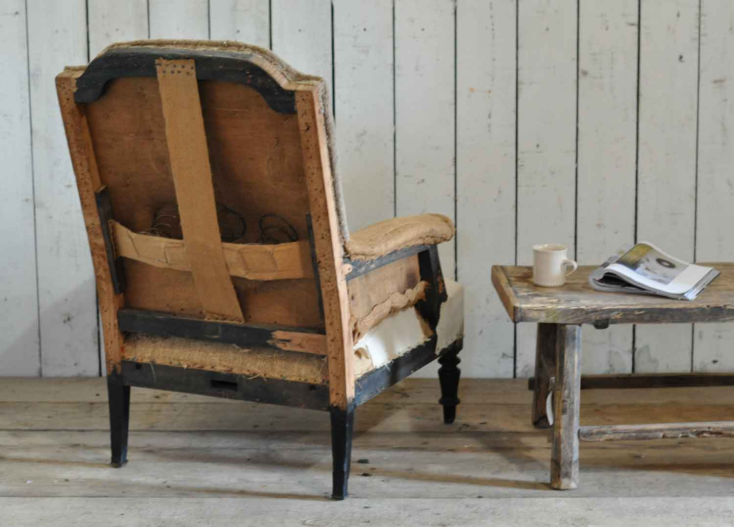 - Antique Deconstructed Square French Fireside Chair Hessian And Cotton