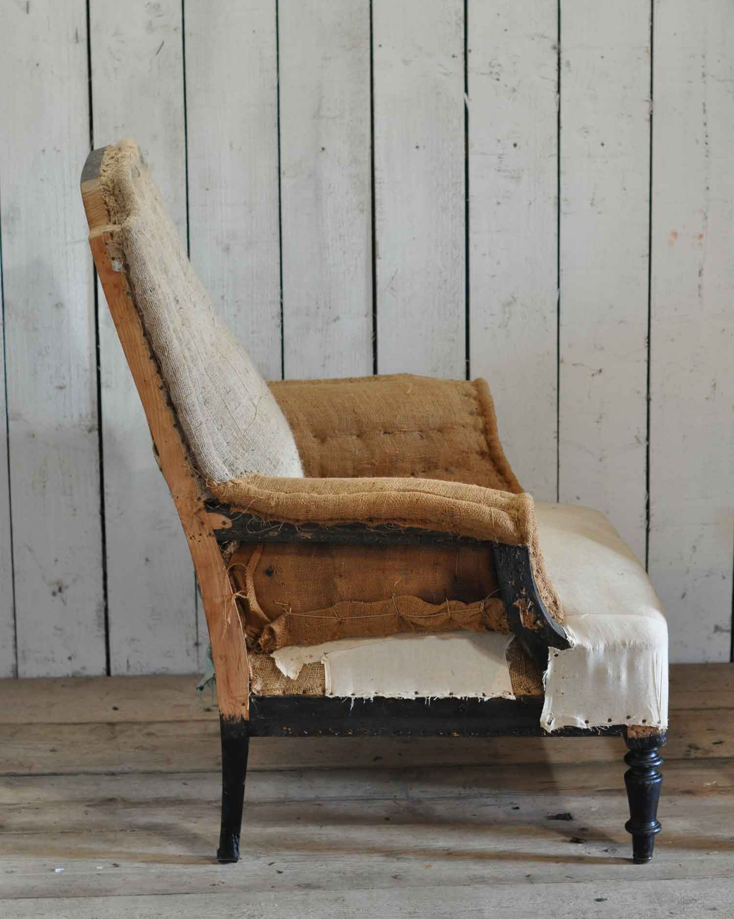 Antique Deconstructed ... - Antique Deconstructed Square French Fireside Chair Hessian And Cotton