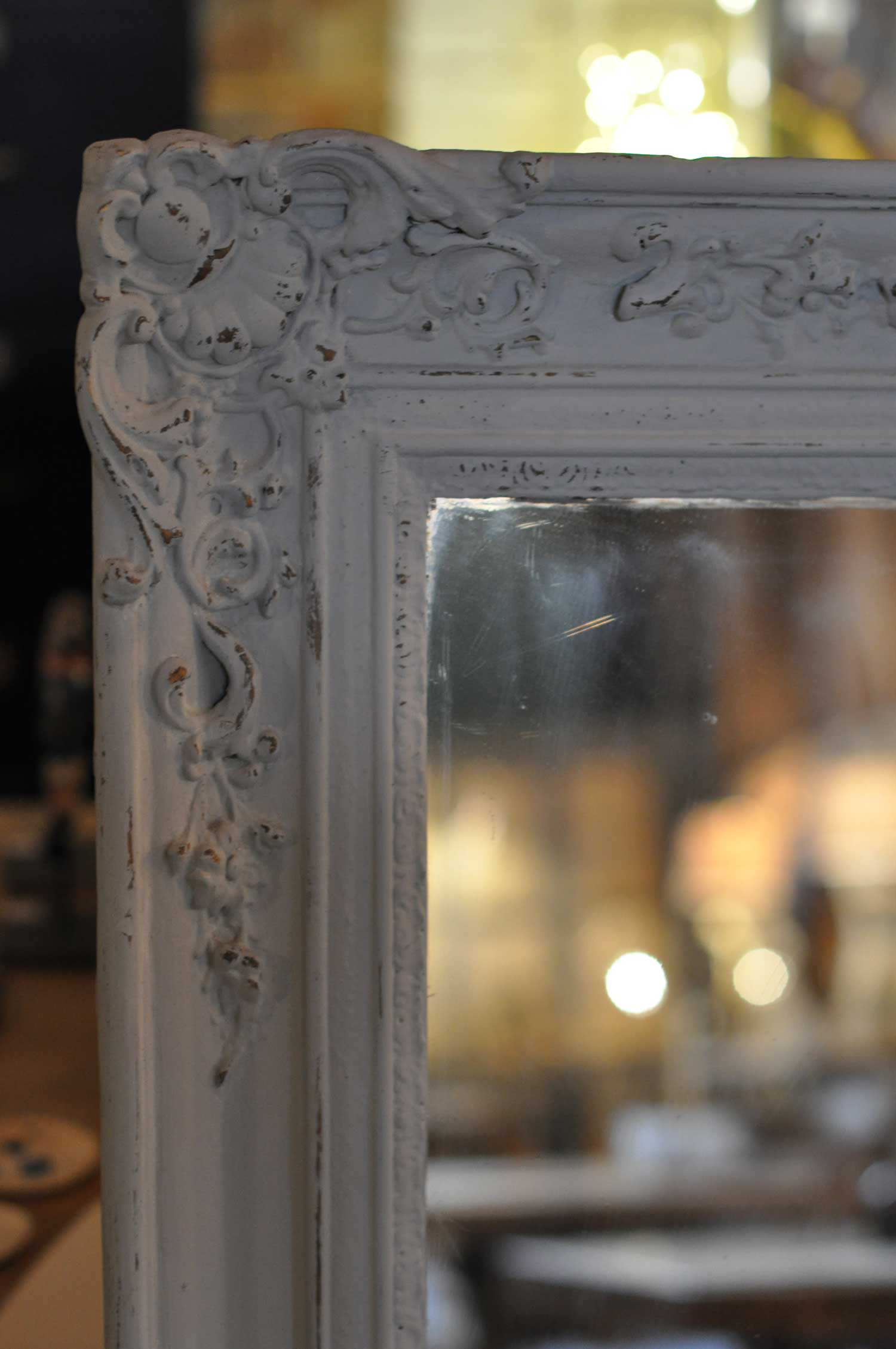 Antique French Ornate Mirror Hand Painted In Pale Gray