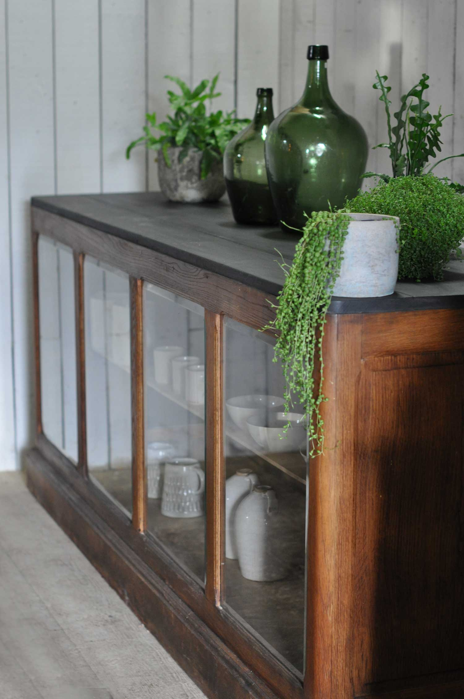 Antique French Shop Counter Glazed Fronted Cabinet Kitchen