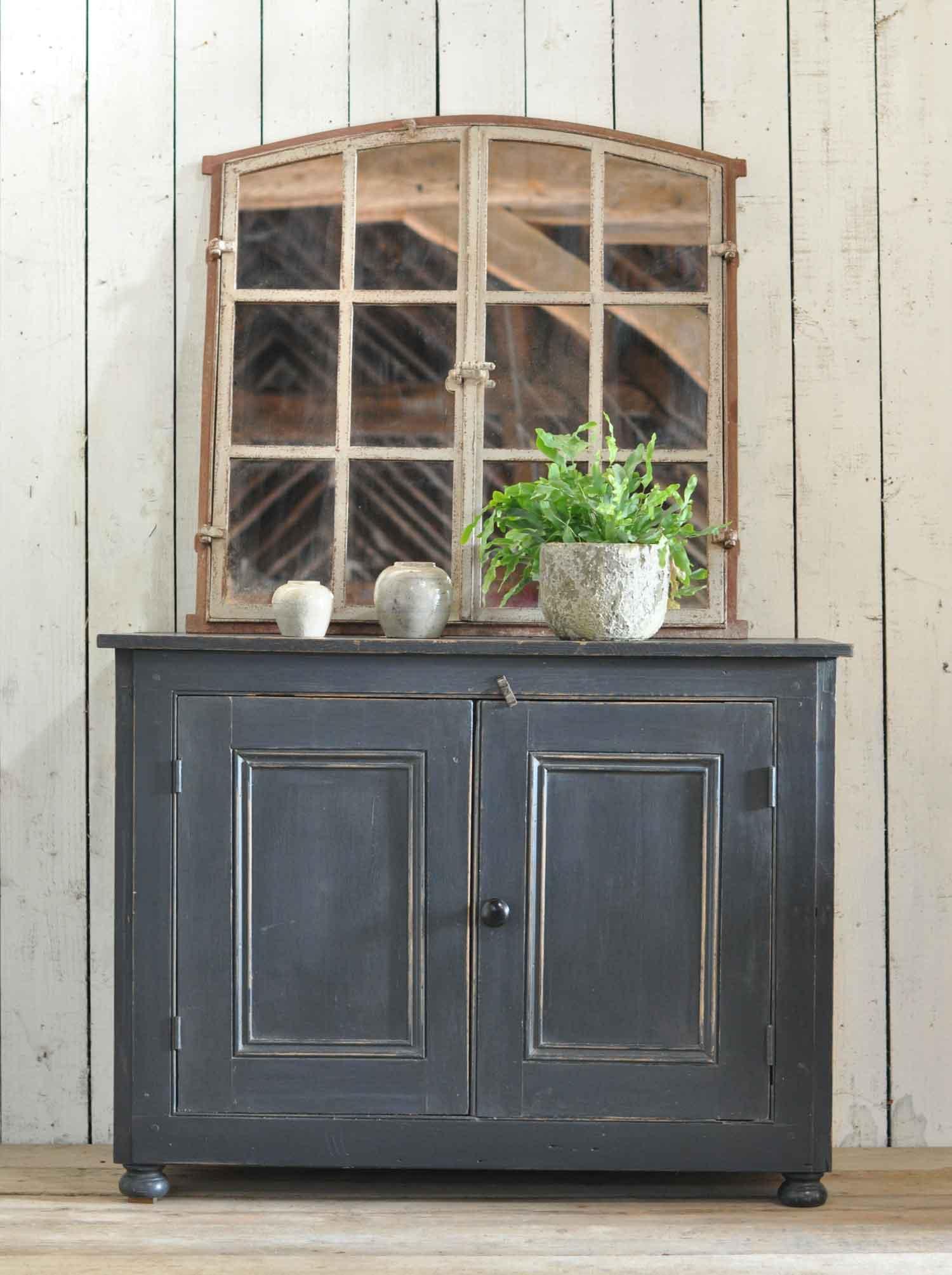 Antique Pine Two Door Cabinet With Dark Grey Paintwork