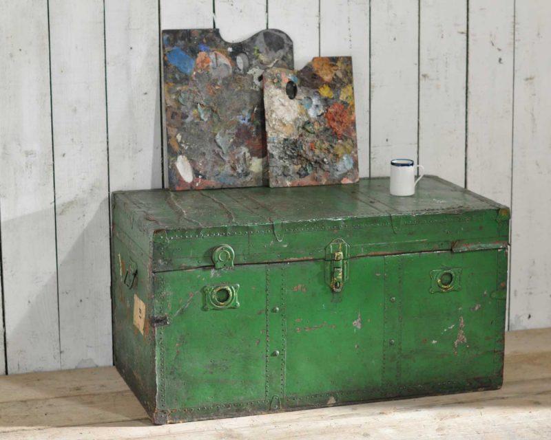 Antique Steamer Shipping Trunk in Dark Green