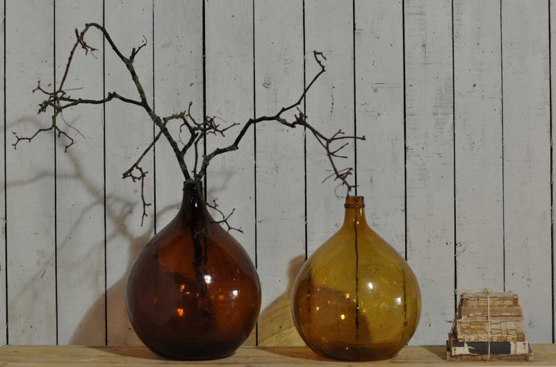 French Amber Gold Carboy Demijohn Antique Glass Bottle