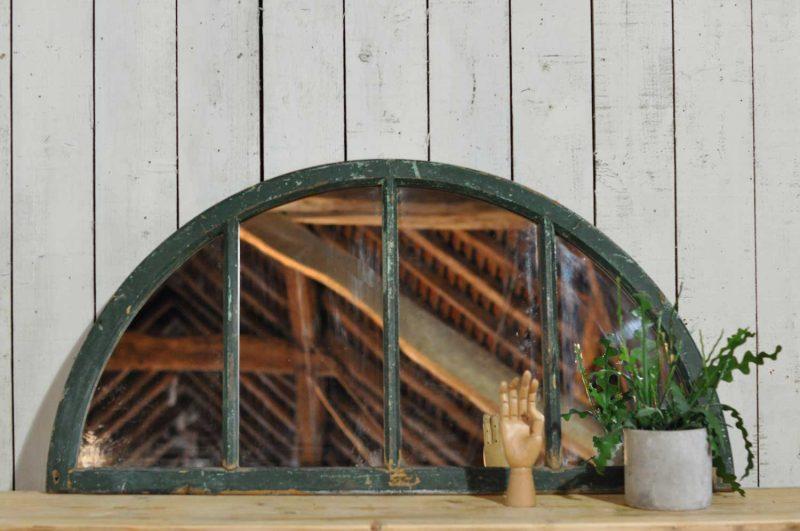 Industrial Arched Semicircular Mirror Window Green